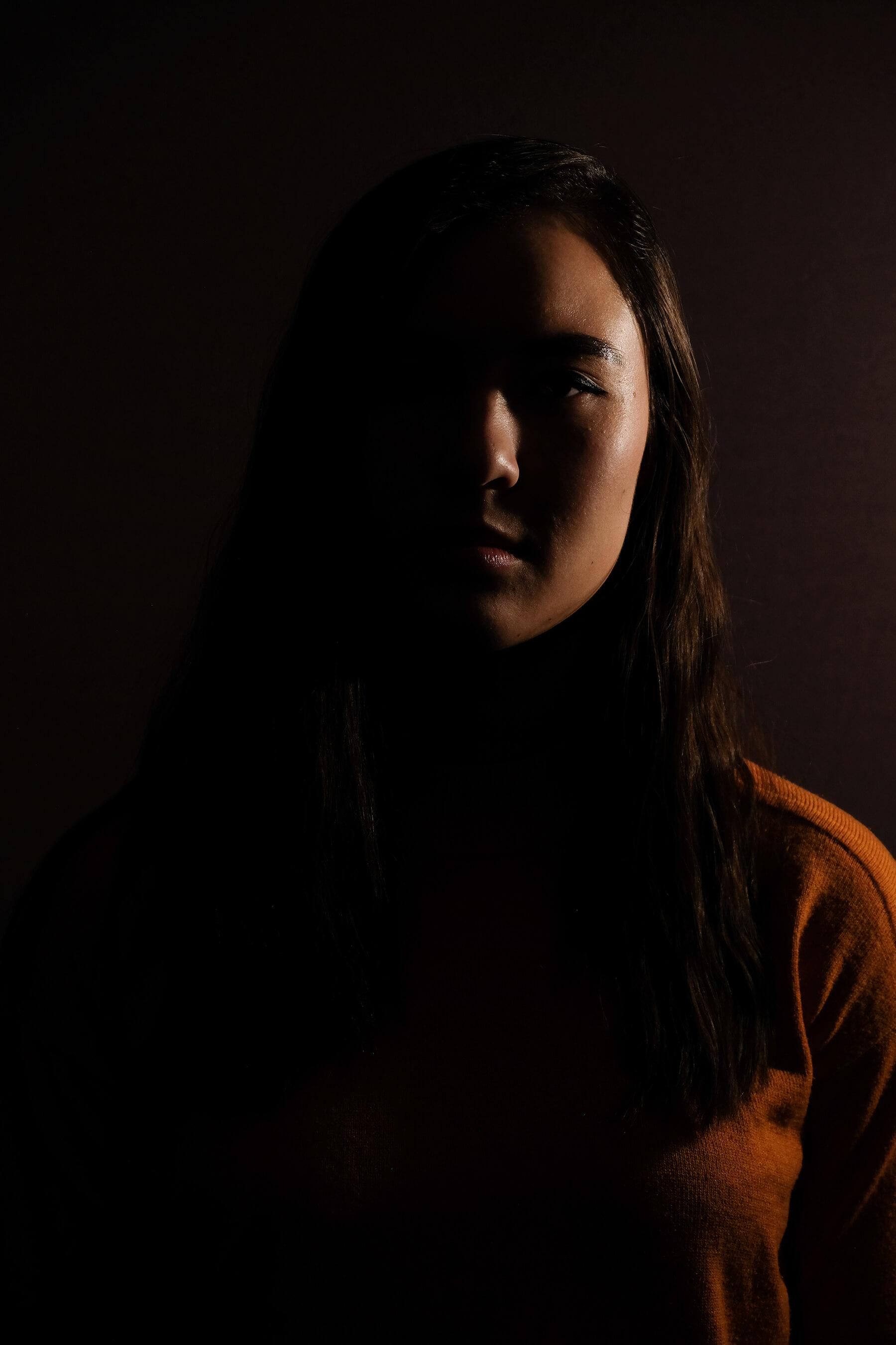 Portrait with split lighting