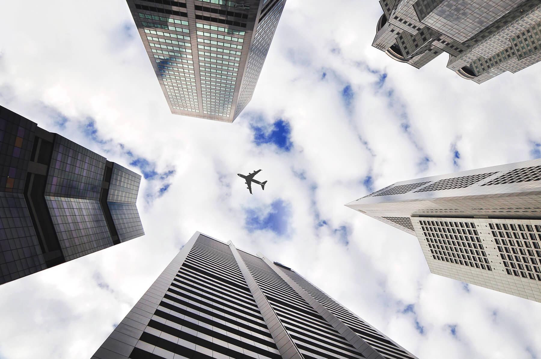 Converging vertical lines of skyscrapers